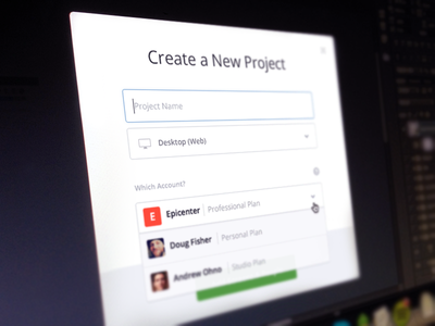 New Project modal new project invision company organization account device dropdown menu inputs focus