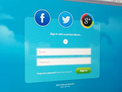 Sign in website web ui sign in log in login social facebook twitter google google plus form clouds glass