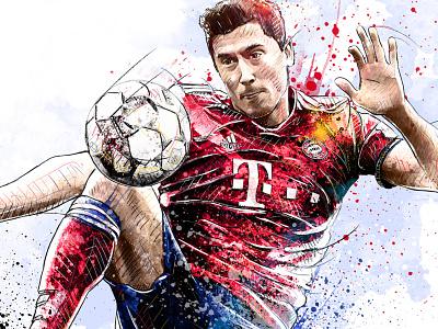 FC Bayern Munich Illustration: Robert Lewandowski football sport digital art ink watercolor soccer photoshop drawing pencil illustration