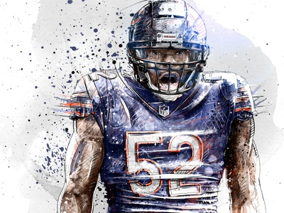 Sport illustration for Bleacher Report: Khalil Mack chicago bears dynamic quarterback nfl football sport portrait wacom watercolor photoshop pencil drawing illustration