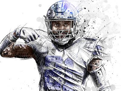 Sport illustration for Bleacher Report: Ezekiel Elliott nfl quarterback football sport portrait ink wacom watercolor photoshop pencil drawing illustration