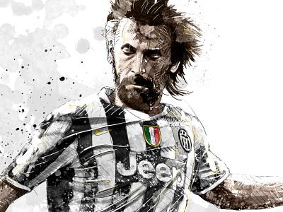 Sport Illustration: Andrea Pirlo pirlo juventus soccer sport portrait digital art ink watercolor wacom photoshop pencil drawing illustration