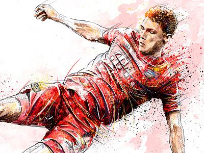 FC Bayern Munich Illustration: Benjamin Pavard pavard football club soccer football sport digital art ink watercolor wacom photoshop pencil drawing illustration