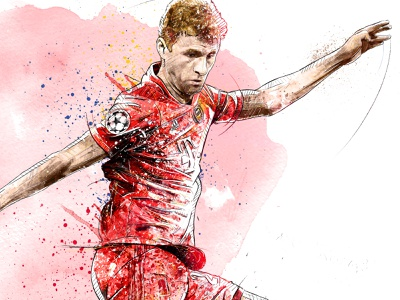 FC Bayern Munich Illustration: Thomas Mueller soccer thomas mueller football club football sport portrait digital art ink watercolor wacom photoshop pencil drawing illustration