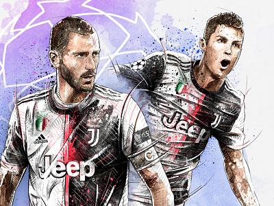 Illustration for Juventus: Ronaldo & Bonucci dynamic athlete bonucci juventus ronaldo football sport soccer watercolor wacom photoshop pencil drawing illustration