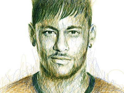 Scribble Portrait: Neymar