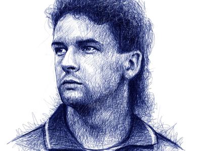 Scribble Portrait: Roberto Baggio