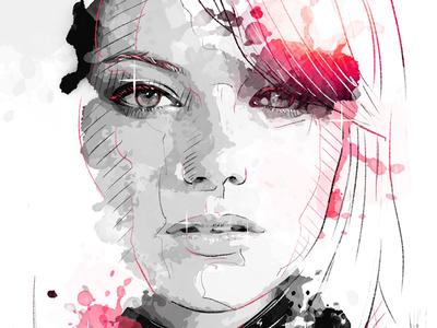 Digital Portrait Illustration: Emma Stone