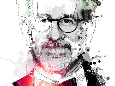Digital Portrait Illustration: Steven Spielberg director spielberg movie hollywood portrait digital art drawing watercolor photoshop wacom ink illustration