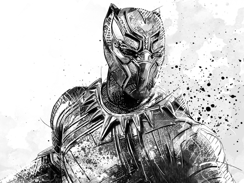 MARVEL Illustration Black Panther (b/w) By Sergio Ingravalle | Dribbble | Dribbble
