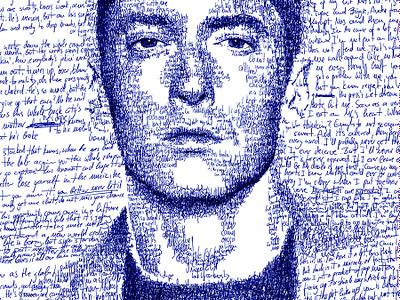 Hand-scripted portrait of Eminem hip hop rap music eminem script script lettering handlettering face wacom digital art portrait pencil drawing illustration