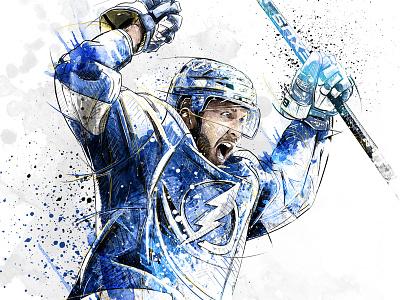 Sport Illustration for Adidas: Nikita Kucherov portrait sport nhl ice hockey digital art watercolor ink wacom photoshop pencil drawing illustration