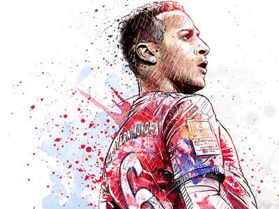 FC Bayern Munich Illustration: Thiago Alcántara bayern munich face soccer football sport portrait digital art watercolor wacom ink photoshop pencil drawing illustration