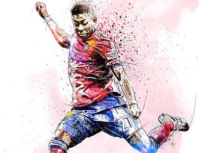 FC Bayern Munich Illustration: David Alaba face bayern munich soccer football sport portrait digital art watercolor wacom ink photoshop pencil drawing illustration