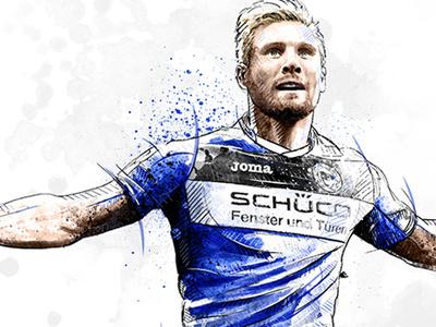 Sport Illustration: Andreas Voglsammer arminia face soccer football sport portrait digital art watercolor wacom ink photoshop pencil drawing illustration