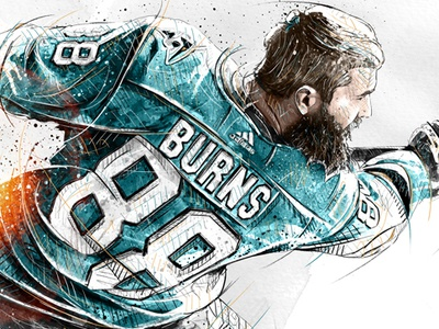 Sport Illustration for Adidas: Brent Burns nhl face sport portrait digital art watercolor wacom ink photoshop pencil drawing illustration