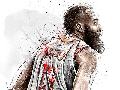 Sport Illustration for Adidas: James Harden wacom watercolor sport portrait photoshop pencil nba illustration basketball drawing digital art