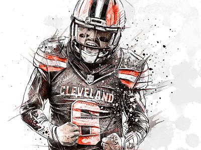 Sport illustration for Bleacher Report: Baker Mayfield watercolor wacom sport portrait photoshop pencil nba illustration drawing digital art football