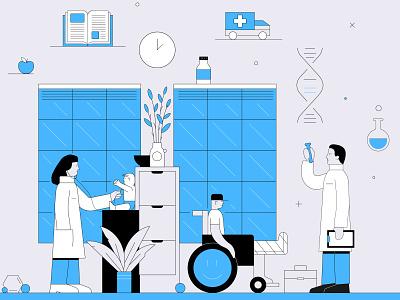 In hospital design science health illustrator adobe vector illustration hospital