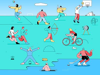 Sport activity nature science illustration health sport branding logo