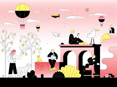 Kids playground character sport nature health illustrator adobe vector illustration