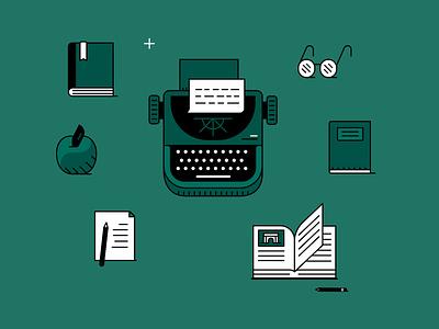 Writers desk writing machine desk writing writer illustrator adobe vector illustration