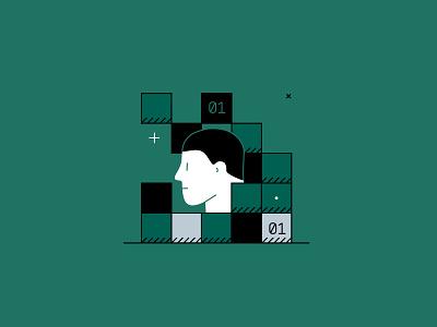 Digitalization character bits digitalization digital head design illustrator adobe vector illustration