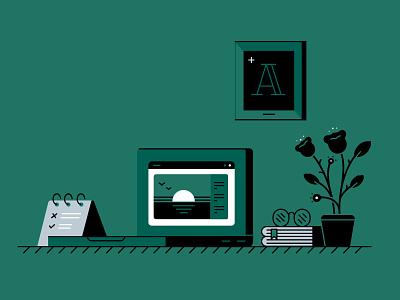 Working desk design illustrator vector adobe illustration