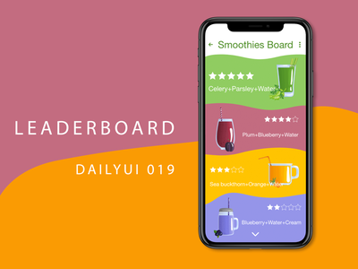 Smoothie app interfacedesign leaderboard adobexd smoothie dailyui019 dailyuichallenge dailyui 001 uiux ui uidesign dailyui adobe photoshop adobe ilustrator illustration graphic design