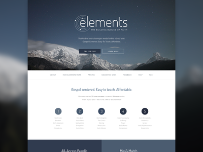elements Landing Page landing page youth ministry god studies product page web design website webdesign church wip