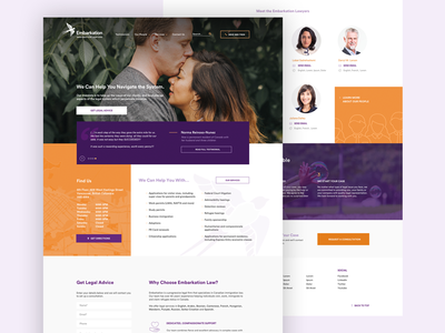 Embarkation law services landing page ui design