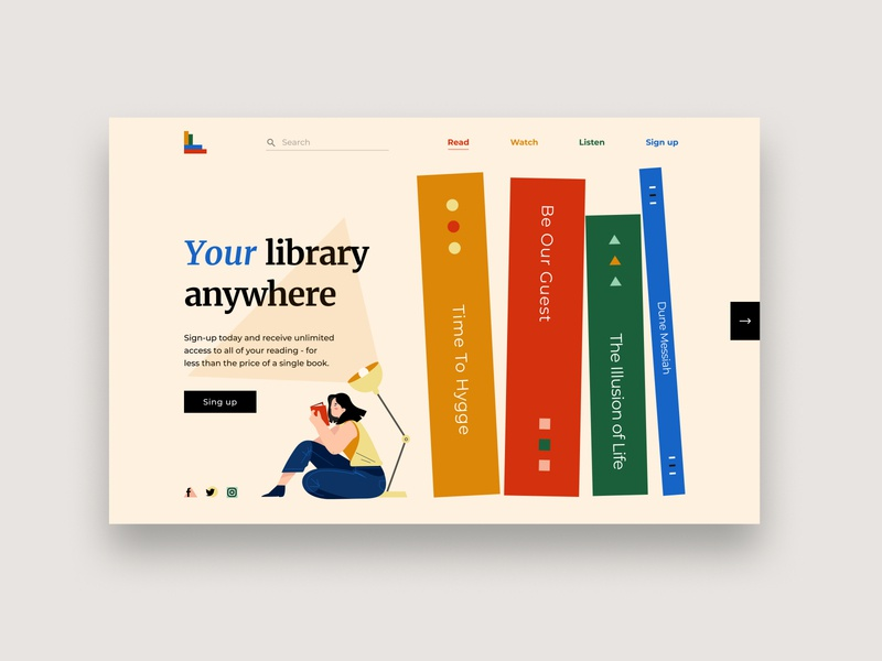 LIbrary online webdesign website web illustration uiux illustrator design