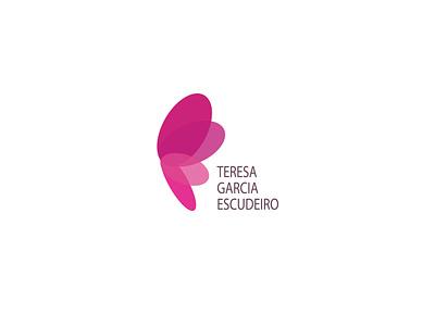 Logo - Dr Teresa Garcia, gynecologist human butterfly pink lettering icon typography type identity flat branding vector illustration web design