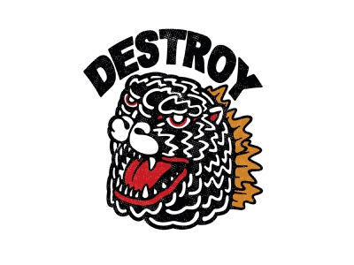 Godzilla Destroy japanese art logo typography illustration design art work art vector branding brand design