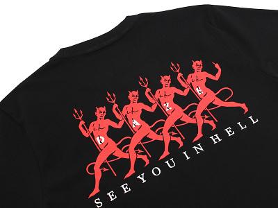 DAZE - SEE YOU IN HELL workshop tattoo vintage skate devil street wear logo vector art work print design branding clothing illustration typography brand design