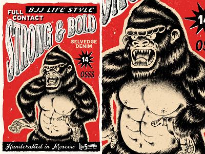 Leo Smagin / Strong & Bold / Selvedge Denim handcrafted street wear lable traditional tattoo gorilla logo denim selvedge vintage retro typography illustration design art work vector branding brand design