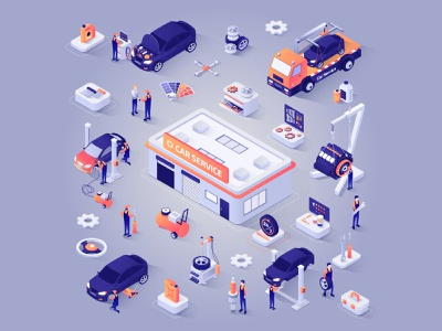 CAR SERVICE ISOMETRIC workers worker web illustration service app services car isometric illustration isometric design isometric art isometric