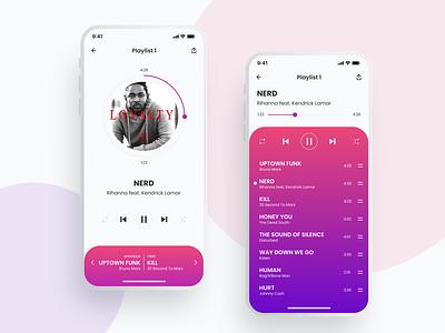 Mp3 player mobile app design app design mobile vector ui figma design art
