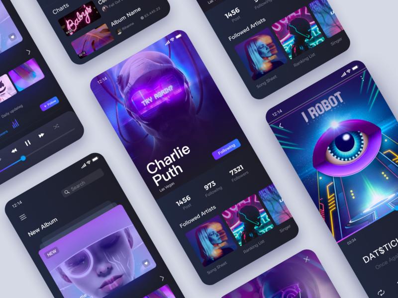 Music App-03 player eye future gan science and technology ios musicapp music design fashion illustration app ux ui