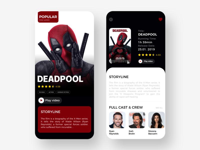Movies App Concept card design movies ios fashion 设计 app ux ui