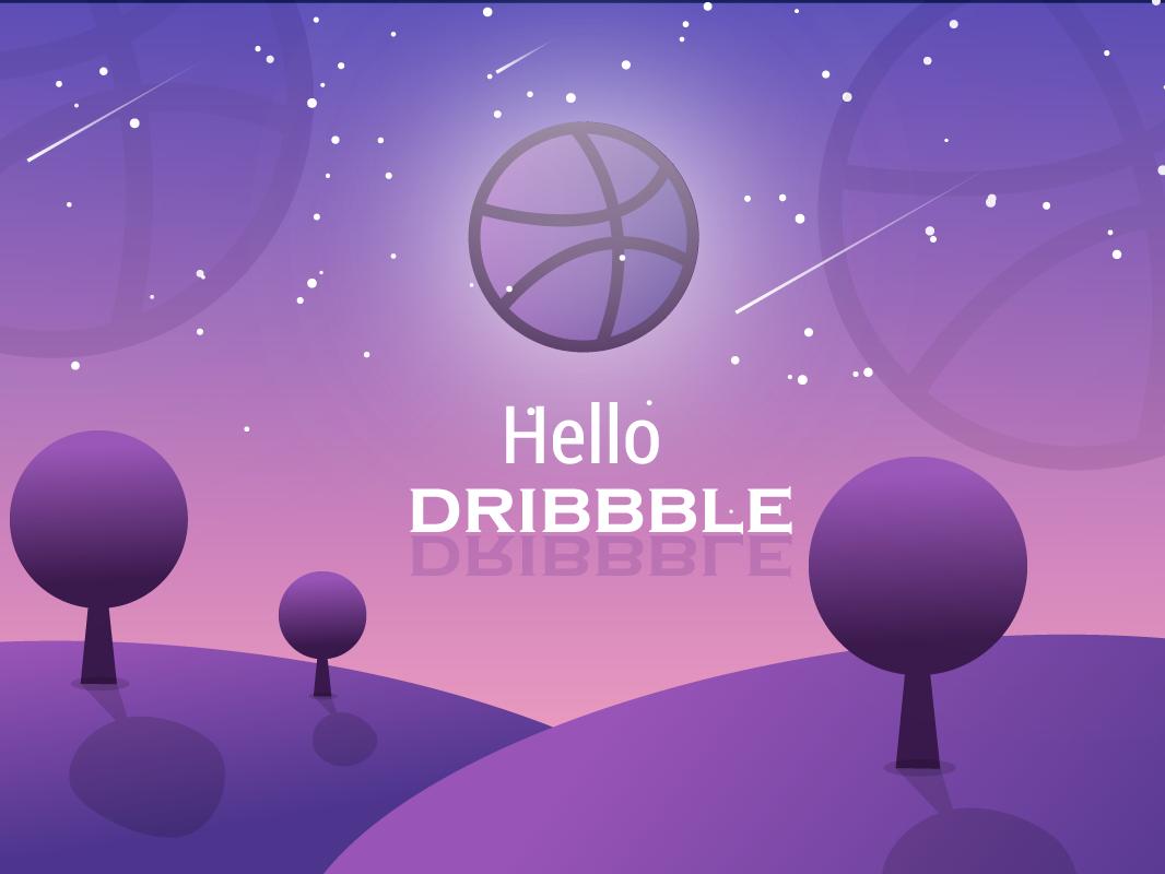 Hello Dribbble flat design vector ux ui illustration