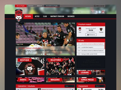 Rugby home graphisme sport rugby dark ui web design ux