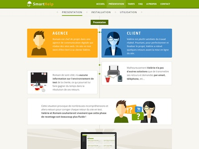 Smarthelp introducing page introducing presentation web site site web site internet couleurs colored