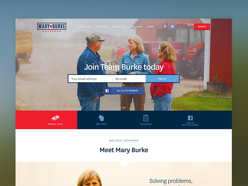 Mary Burke for Governor of Wisconsin website homepage landing page politics campaign democrat usa website design