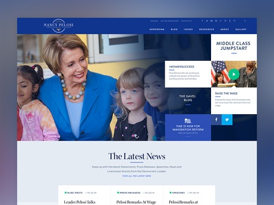 Democratic Leader Nancy Pelosi website homepage landing page politics campaign democrat usa website design