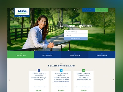 Alison Lundergan Grimes for Senate website homepage landing page politics campaign democrat usa website design
