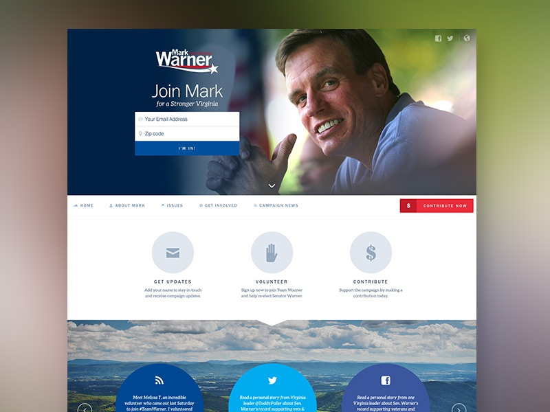 Mark Warner for Senate website website homepage landing page politics campaign democrat usa design