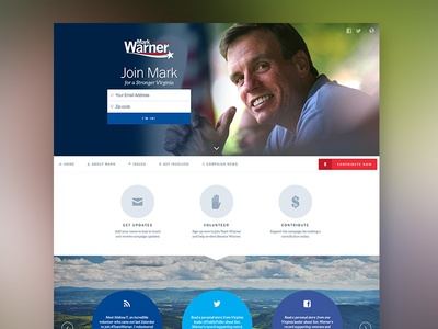 Mark Warner for Senate website website homepage landing page politics campaign democrat usa design