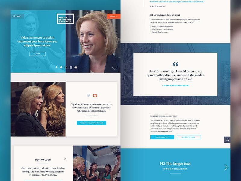 Kirsten Gillibrand for Senate website wide eye campaign politics art direction website branding