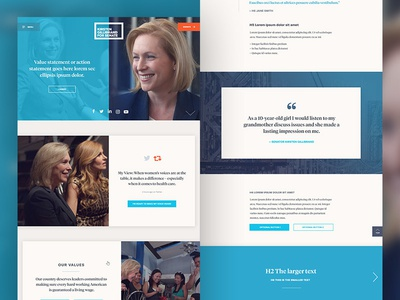 Kirsten Gillibrand for Senate website wide eye campaign politics art direction website branding